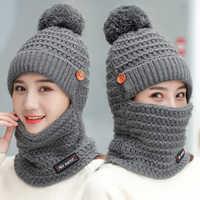 0a228c71df9 2018 зимние Шапки Для женщин вязаная шапка Обувь на теплом меху Pom Кепки  Skullies шапочки для