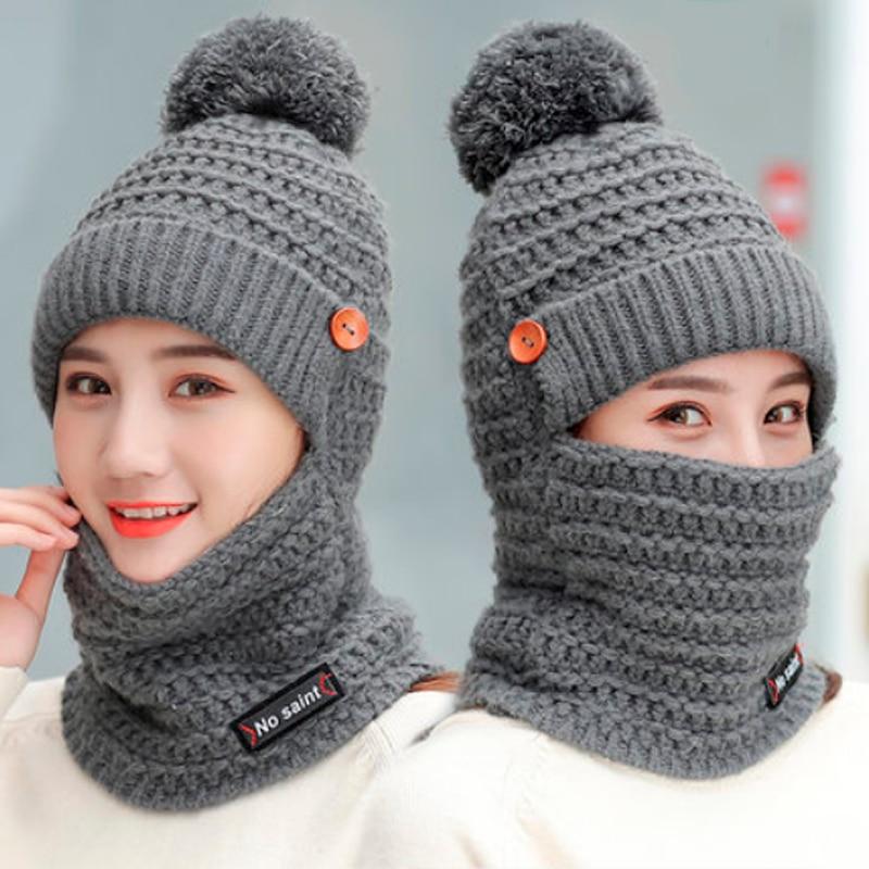 2018 Winter Hats Women Knitted Hat Warm Fur Pom Pom Cap Skullies Beanies For Women High Quality Girls Mask Hats