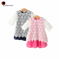2015 New Children Clothing Spring And Summer Girls Elegant Cotton Lace Voile Lining Pretty Kids Dress