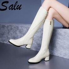 Buty zimowe Salu damskie buty do kolan buty ocieplane nowe mody oryginalne skórzane buty damskie okrągłe Toe czarne damskie rozmiar 41 42 43