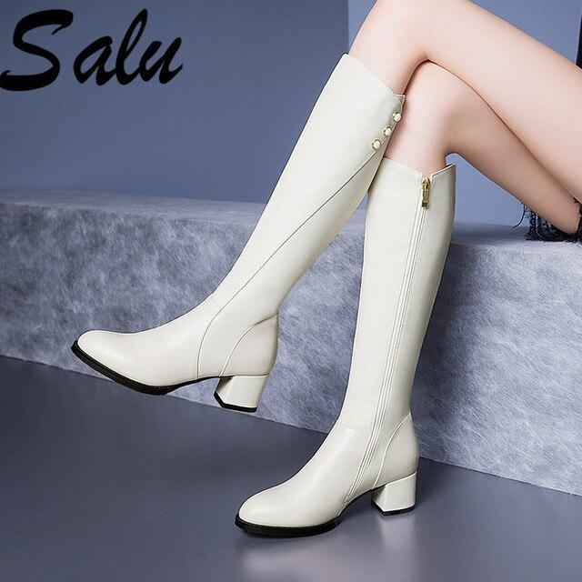 Salu botas de inverno botas femininas na altura do joelho botas quentes nova moda couro genuíno sapatos femininos dedo do pé redondo preto senhoras tamanho 41 42 43