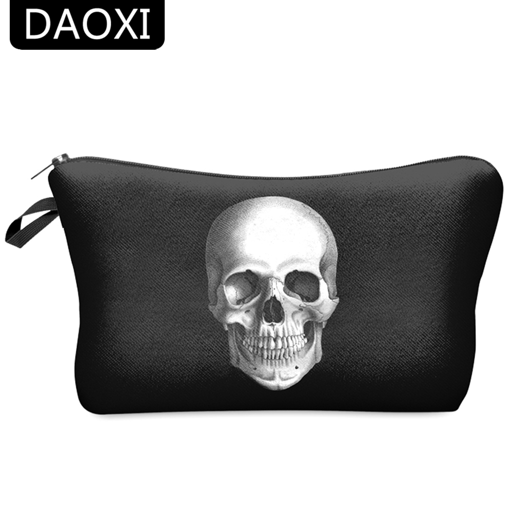 DAOXI 3D Skull Printing Portable Cosmetic Bag Storage Women for Traveling Makeup Necessaries image