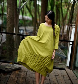 2016 Autumn Linen Robe women Original design cloth hemp color personality omen dress Women Casual flax Mori dresses Plus Size