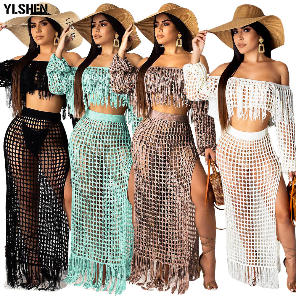 Two Piece Skirt Set Women Summer Beach Maxi Two Piece Suits Sexy Hollow Out Mesh Tassel Perspective Tops & Skirts Sets Outfits
