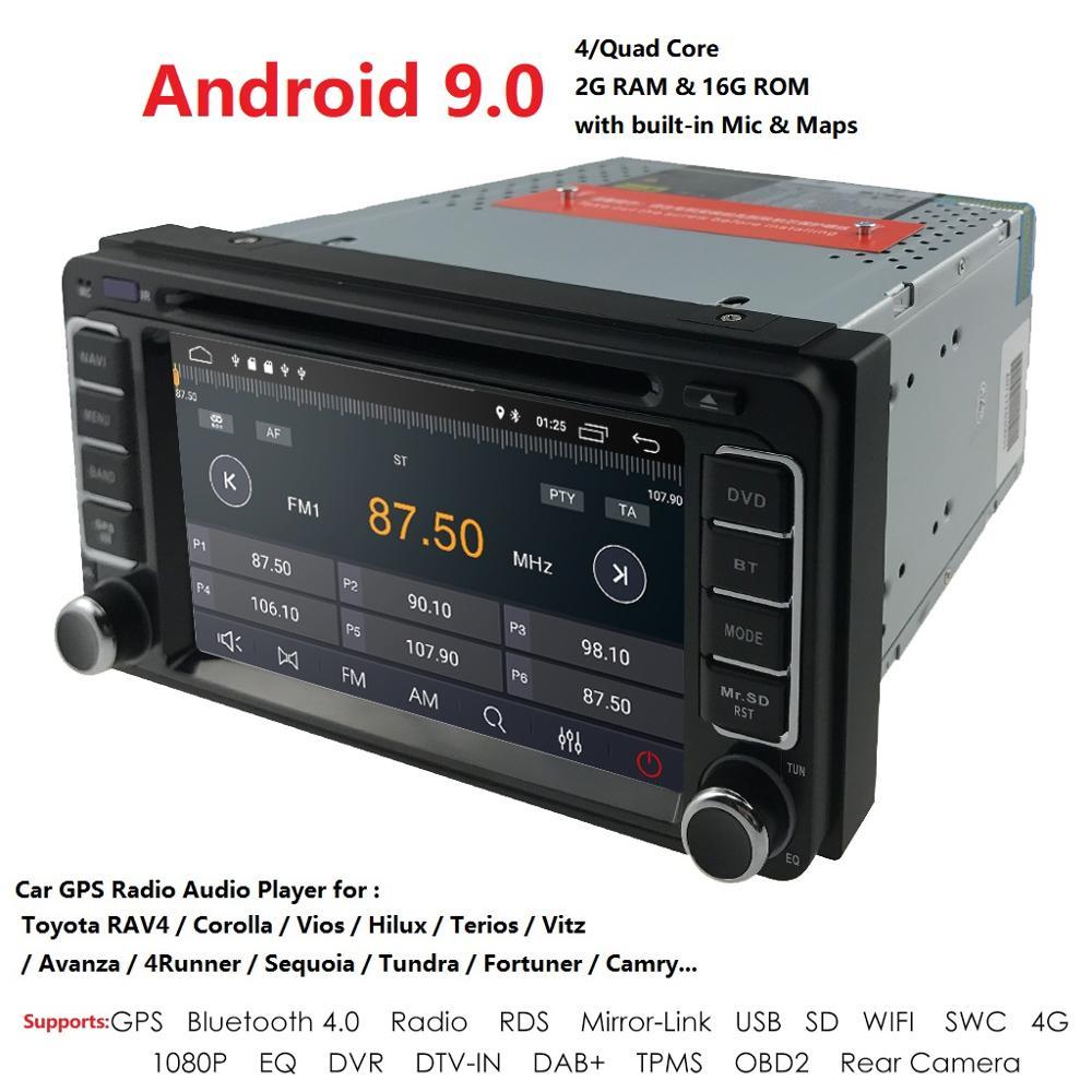4GAndroid9.0 2G+16G IPS Screen CAR DVD GPS For Toyota Universal RAV4 COROLLA VIOS HILUX Terios Land Cruiser 100 PRADO Dvd Player