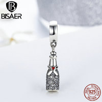 BISAER Real 925 Sterling Silver Small Red Small Heart Perfume Bottle Pendant Charms For Women Fit