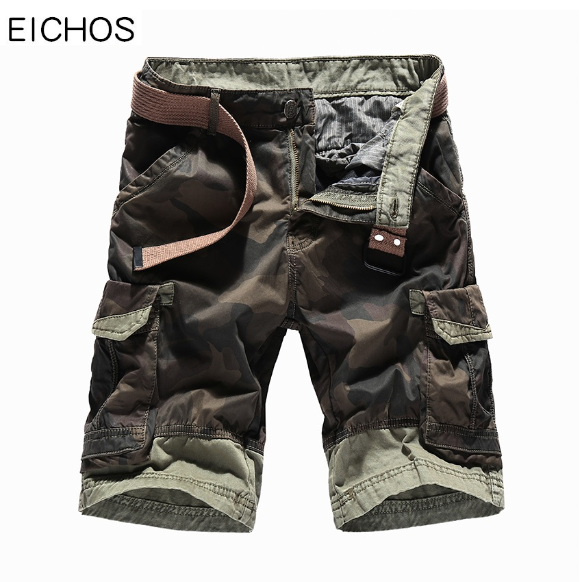 EICHOS Men Shorts Summer 2018 Fashion Camouflage Shorts Men Loose Cotton Straight Cargo Short Homme Casual Knee Length