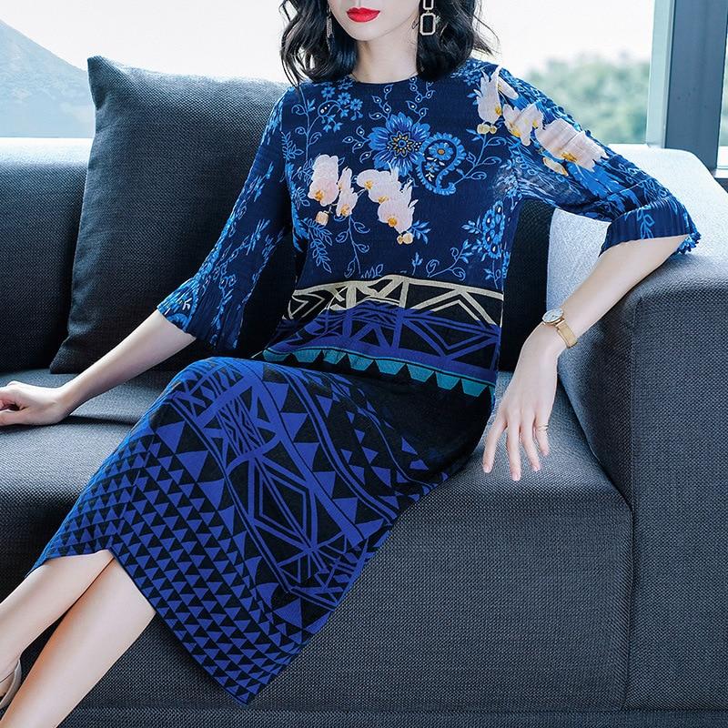 Printemps Bleu Femmes Nouveau Robes Mode Lâche Taille Élégantes Marée Imprimer Plissée Grande Lady UU1wq