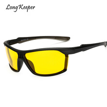Фотография Long Keeper Mens Polarized Sunglasses Black Night Driving Safety Sun Glasses 2018 New Hot Sale Mirror Goggles UV400 Eyewears