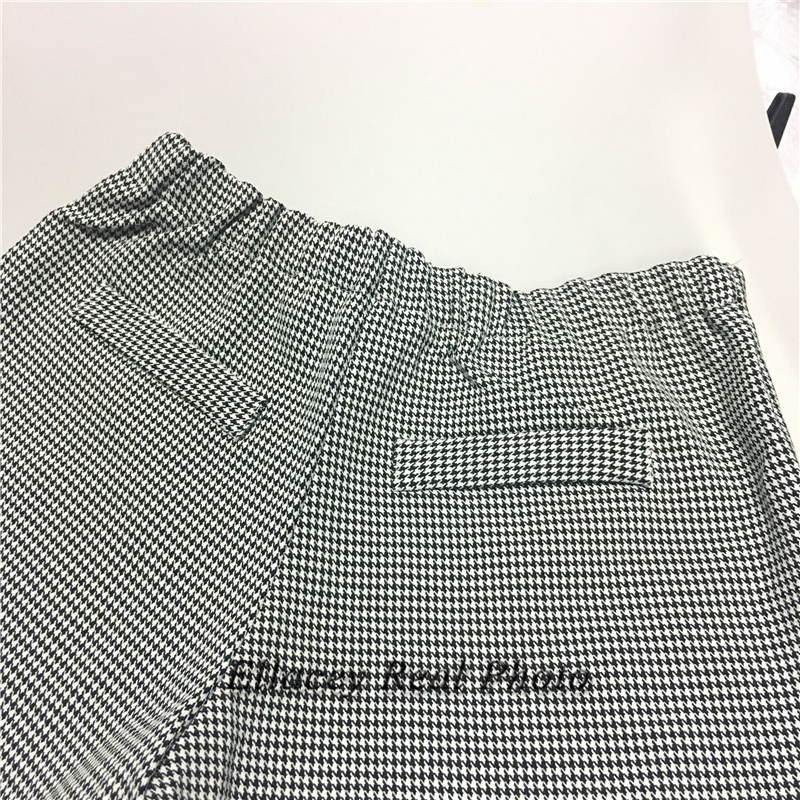 New 19 Spring Autumn Fashion Women's Business Pants Suits Houndstooth Checker Pattern Ruffles Suits For Women 2 Pieces Set 16