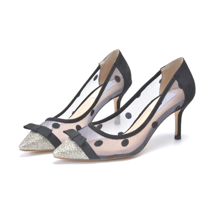 9d36b954b3b5 Air mesh pumps women Pointed Toe spot round dot crystal decor high heels  wedding shoes bowties butterfly knot stilettos -in Women's Pumps from Shoes  on ...