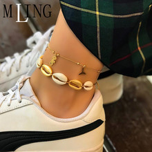 MLING 2 Pcs/Set Bohemian Shell Mermaid Seahorse Scallop Anklet Bracelet For Women