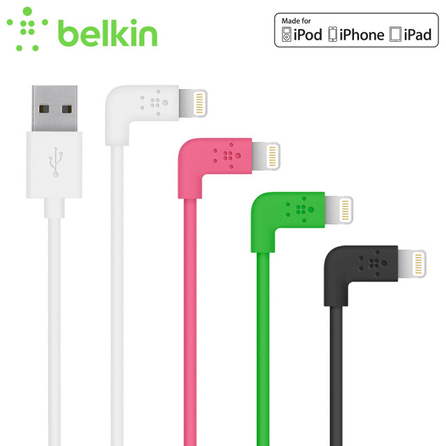 Belkin Original MFi Certified 8 pin 90 degree for Lightning to USB Mobile Phone Cable Charge