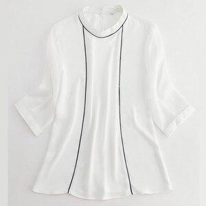 Image 5 - 高品質ファッション夏の女性のシャツ2019新五分袖ルーズシフォンブラウスol気質オフィス女性のプラスサイズは