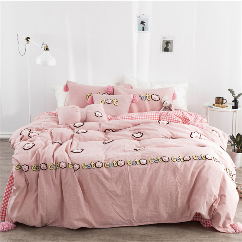 Luxury Washed Cotton Cartoon Cat footprints Bedding Set Duvet Cover Bed Sheet Pillowcases crib/Twin/Queen/King size 3/4/6/7pcs