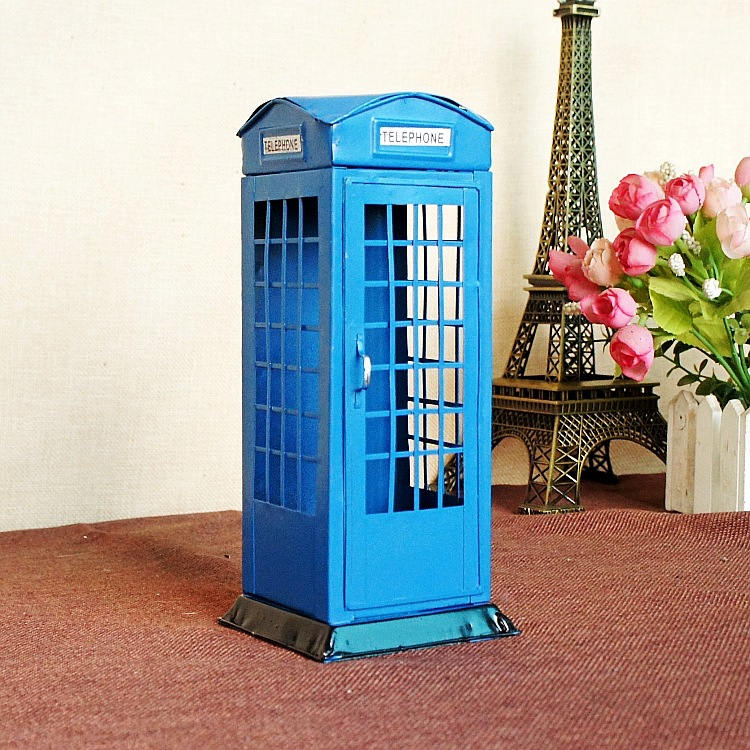 Retro tinplate phone booth model piggy bank office tabletop furnishing home decoration craft gifts photography props