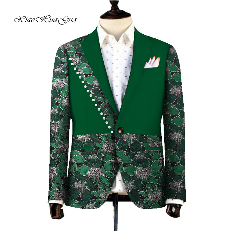 Ankara Fashion Men Blazer African Dashiki Men Clothes Wedding Party Suit Blazer Jacket Tops Coat Casual Pearl WYN753