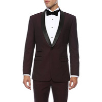 Custom Made Wine Red Suits Black Lapel One Button 2 piece Slim Fit Men Blazer Wedding Suit Groom Tuxedos(Jacket+Pants) H508