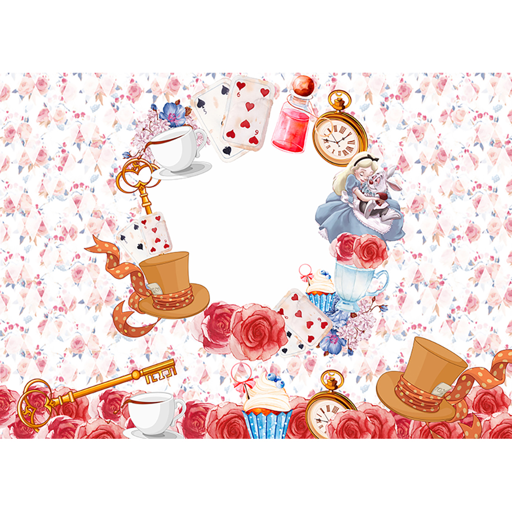 Funnytree Thin Vinyl Cloth Alice Wonderland Photography Backdrop
