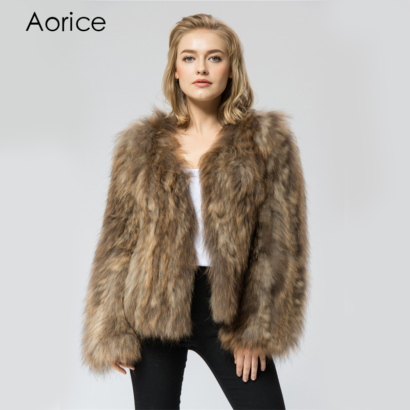 CR035 New Knit Knitted Real Raccoon Fur Coat Jacket Overcoat Russian Womens Winter Warm Genuine