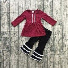 ملابس خريفية للأطفال البنات ملابس أطفال بنات لون أحمر مزركش بالدانتيل سراويل مكشكشة من قطعتين طقم ملابس بنات