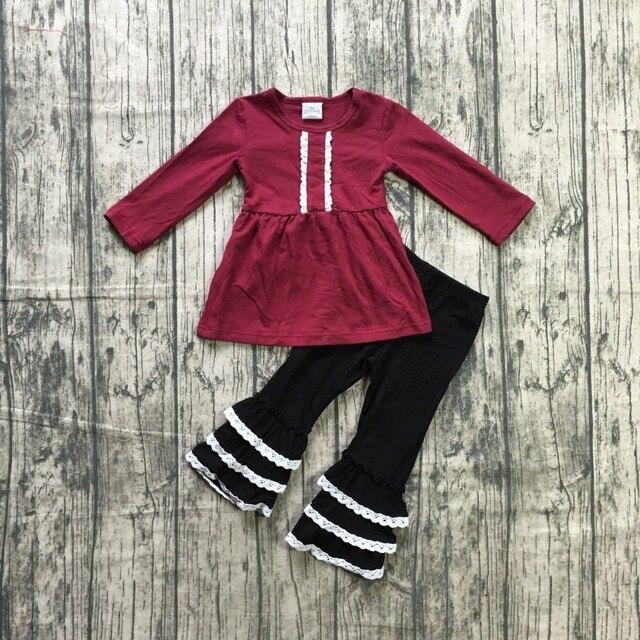 Dziewczynek jesień ubrania dziewczyny dzieci dziewczyny wino czerwony top z koronki wzburzyć spodnie 2 sztuk zestawy stroje dziewczyny boutique odzież