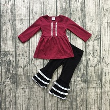 baby Girls Fall clothes girls children girls wine red top with lace ruffle pants 2 pieces sets outfits girls boutique clothing