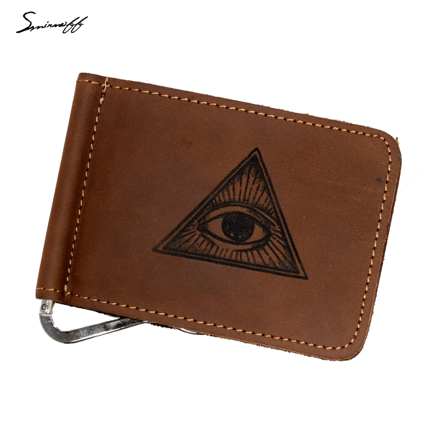 All-seeing eye of God Leather Wallet Open Metal Clamp for Money Clip Wallet with Eye of Providence Pattern Men Purse Money Clip seeing red
