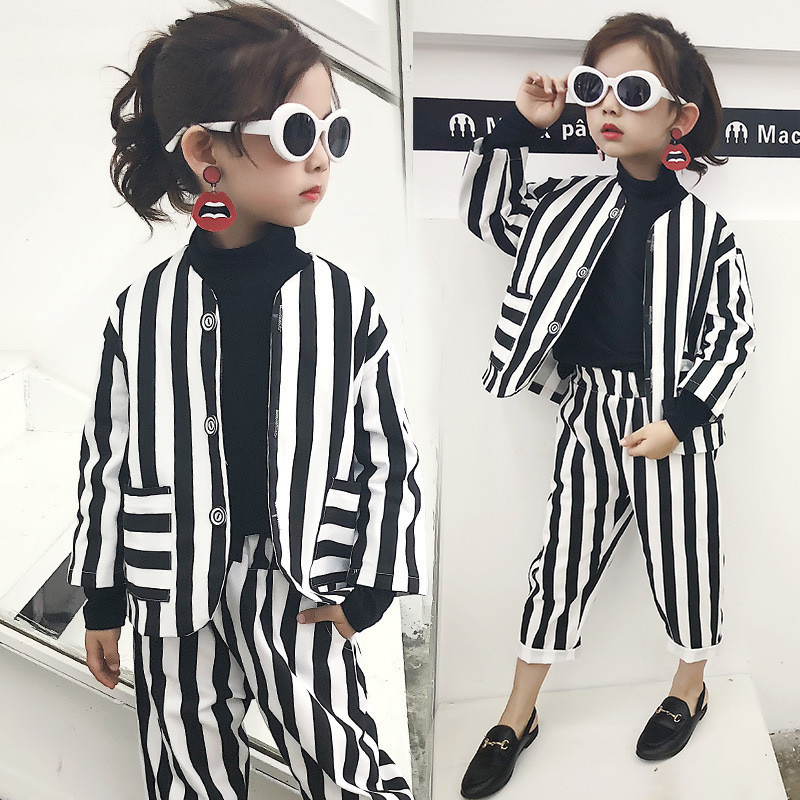 Mihkalev Pattern Striped Children Clothing Set For Kids Clothes 2020 Baby Girl Long Sleeve Set Suits Girls Outfits Costume