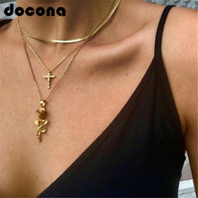 Collar con colgante de flor de Rosa cruzada de Color dorado Vintage de docona para mujeres y niñas, collar con capas florales, joyas bohemias 4418