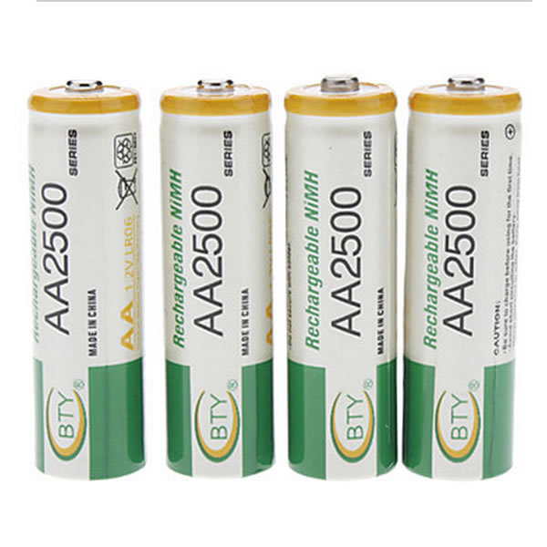 BTY 2500 AA Battery 1.2V Ni-MH Rechargeable Battery for Toy PDA Cameras CD player Remote Control 16PCS/Lot