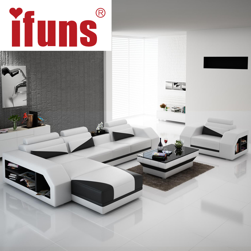 IFUNS american modern design genuine leather L shaped corner sofa ...