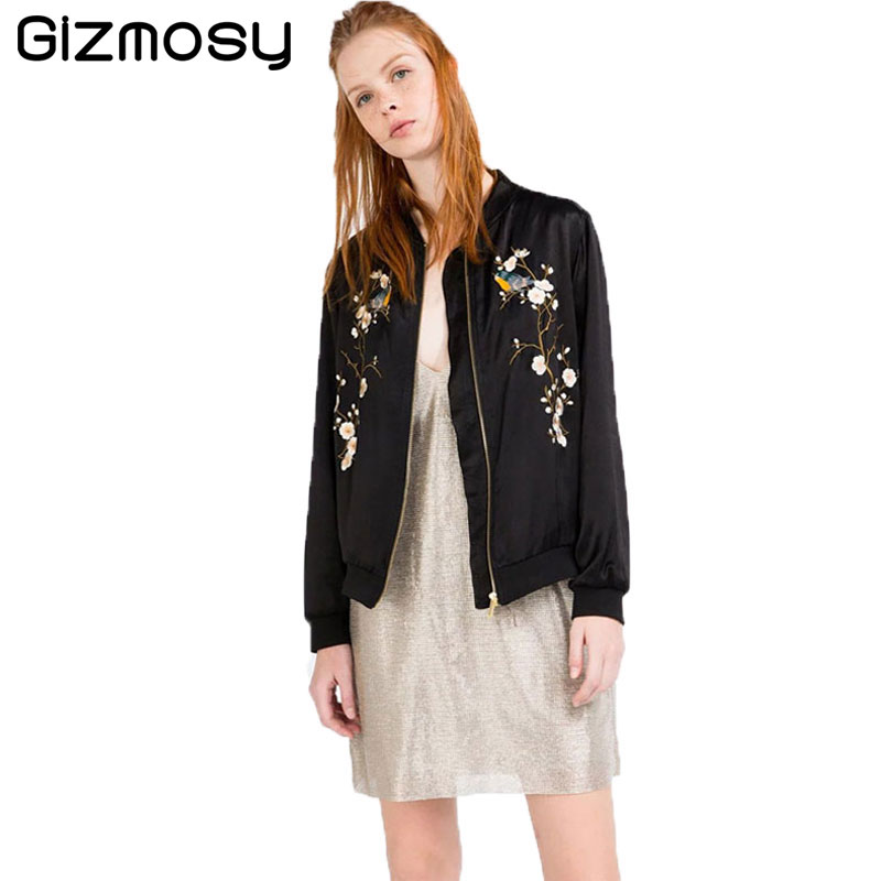 1PC Zipper Bomber   Jacket   Spring Tops Stand Collar Vintage Black Coat Embroidery Flowers Slim Outwear Women   Basic     Jackets   SY534