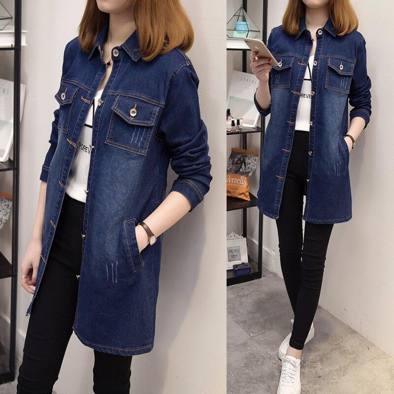 5xl plus big size coats women spring autumn 2017 feminina fashion new thin elastic denim long   trench   coat female Q0056
