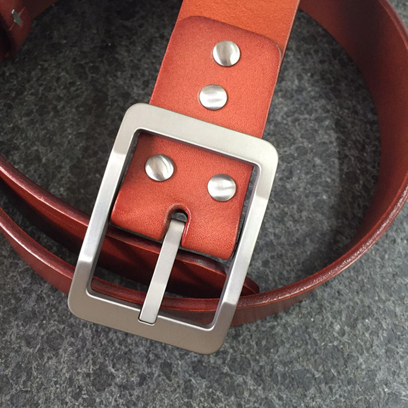 Titanium 38 Mm Buckle With Snap Fit Tan Leather Strap
