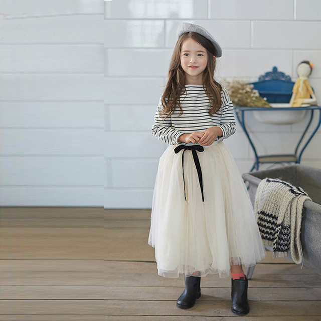 Girls Set 2016 New Korean Child Clothing Teenager Kids Clothes Striped Full Sleeved T Shirt + Long Skirt 2 Piece Sets Age 3-14