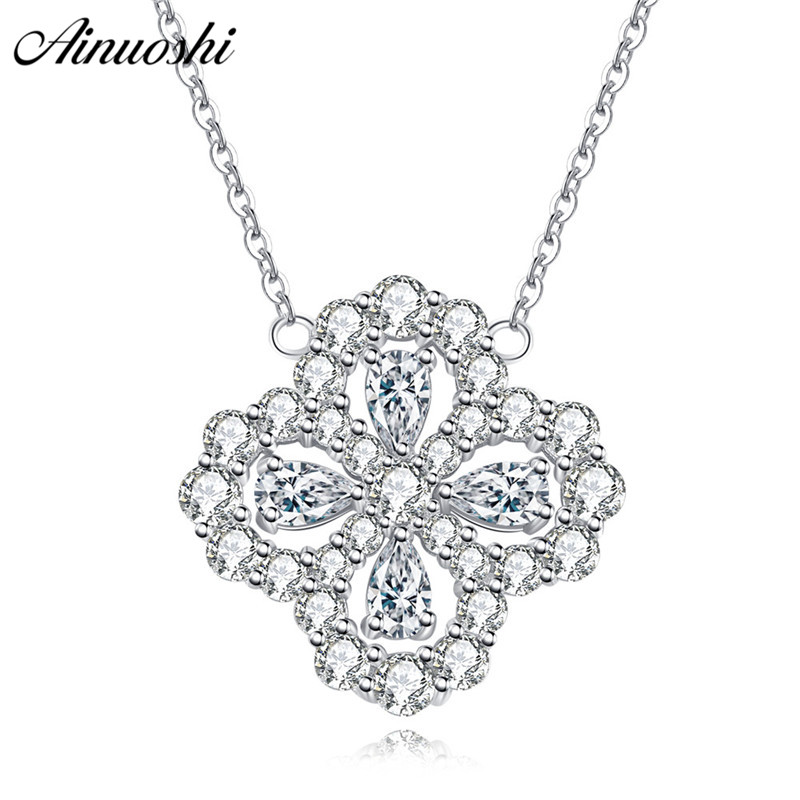 AINUOSHI Luxury 925 Sterling Silver Pendant Necklace for Women Four Leaves Long Chain Necklace Wedding Jewelry