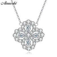 AINUOSHI Luxury 925 Sterling Silver Pendant Necklace for Women Four Leaves Long Chain Necklace Wedding Jewelry collar de plata
