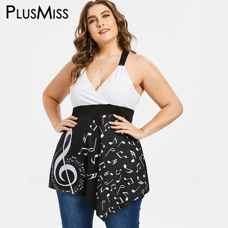 PlusMiss Plus Size 5XL 4XL Summer 2018 Music Note Asymmetrical Tunic   Tank     Top   Ladies Sleeveless Long V Neck Vests Women Big Size