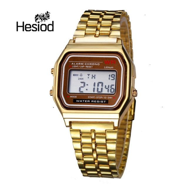 7d5c9031c78 Hesíodo Vintage Negócios Relógio para Homens Relógios de Ouro Prata  Quadrado do Aço Inoxidável LED Relógio
