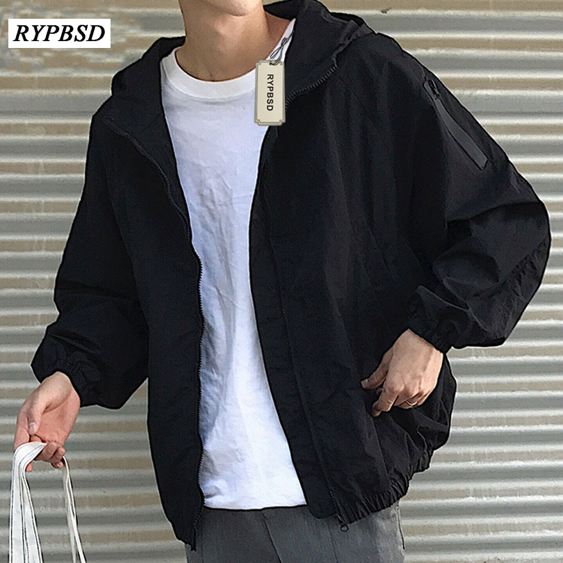 2019 Spring Autumn Hooded Bomber Jacket Men Black Army Green Solid Loose Korean Casual Harajuku Varsity Zipper Hoody Coat Men