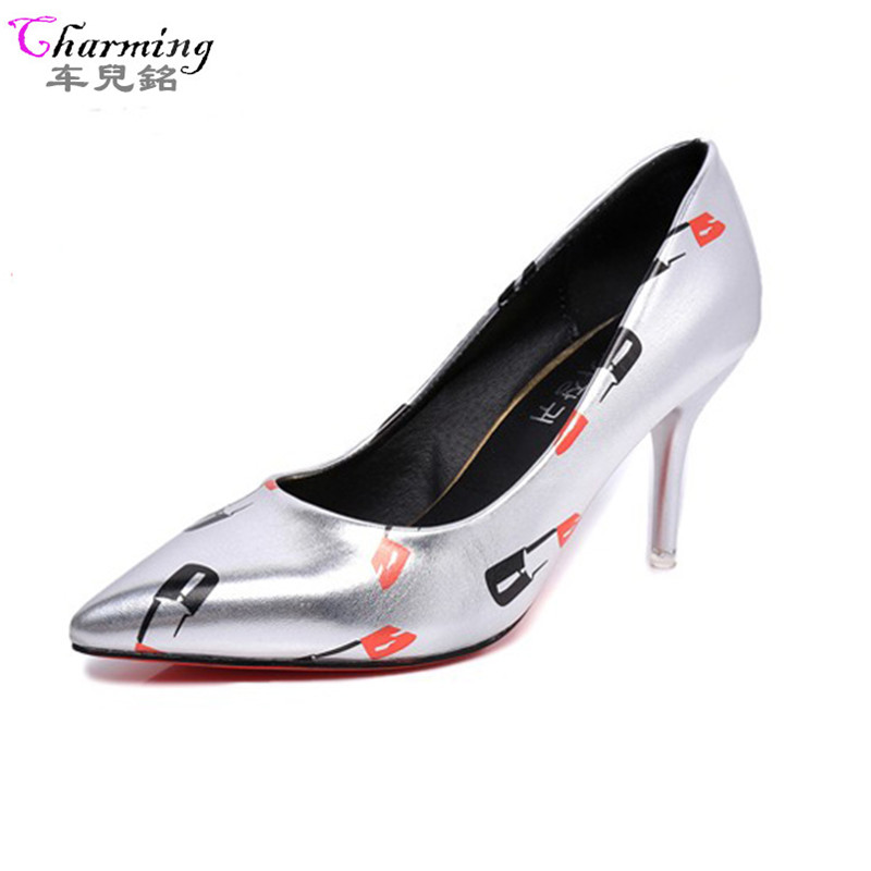 2016 NEW Women Pumps Sexy Red High Heels lip-stick Pointed Toe women Shoes golden sliver wedding party office heels ALF231 new women patent leather high heels shoes wine red gray sexy pointed toe shoe for wedding party office career pumps smybk 020