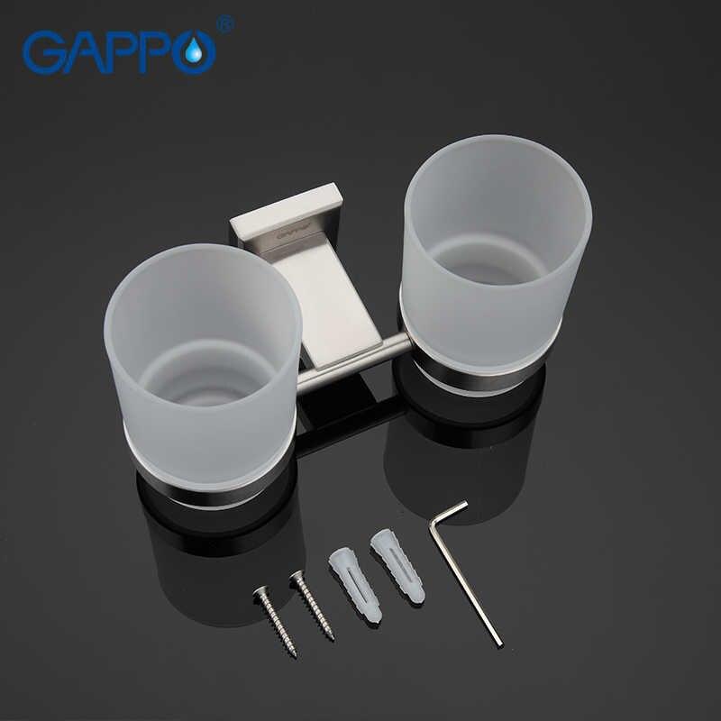 GAPPO paslanmaz çelik bardak bardak tutucu çift cam bardak tutucular duvara monte diş fırçası diş bardak tutucular banyo donanım