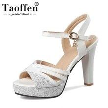 TAOFFEN Women Sweet Sandals High Heels Female Thick Heel Paltform Crystal  Buckle Summer Footwear Size 32-43
