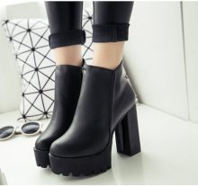 2018New Women's Fashion Side Zipper Ankle Boots Platform Thick High Heel 12 cm Ladies Boots Winter Woman Shoes Black boot(China)