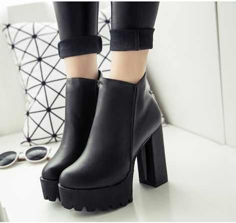 2018New kadın Moda Yan Fermuar yarım çizmeler Platformu Kalın Yüksek Topuk 12 cm Bayan Botları Kış Kadın Ayakkabı Siyah çizme