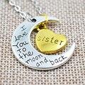 Simple del Oro y de la Plata Te Amo Luna Abuelo Familia Luna Colgante Collar de Joyería de Las Mujeres Accesorios Regalos Envío gratis