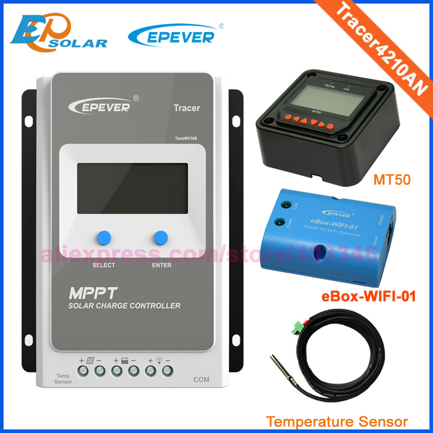 Tracer4210AN MPPT Solar Controller with ebox WIFI BLE module 40A 12V/24V MPPT solar charge controller for solar panel charger mppt 40 40a 24v mppt solar charge controller
