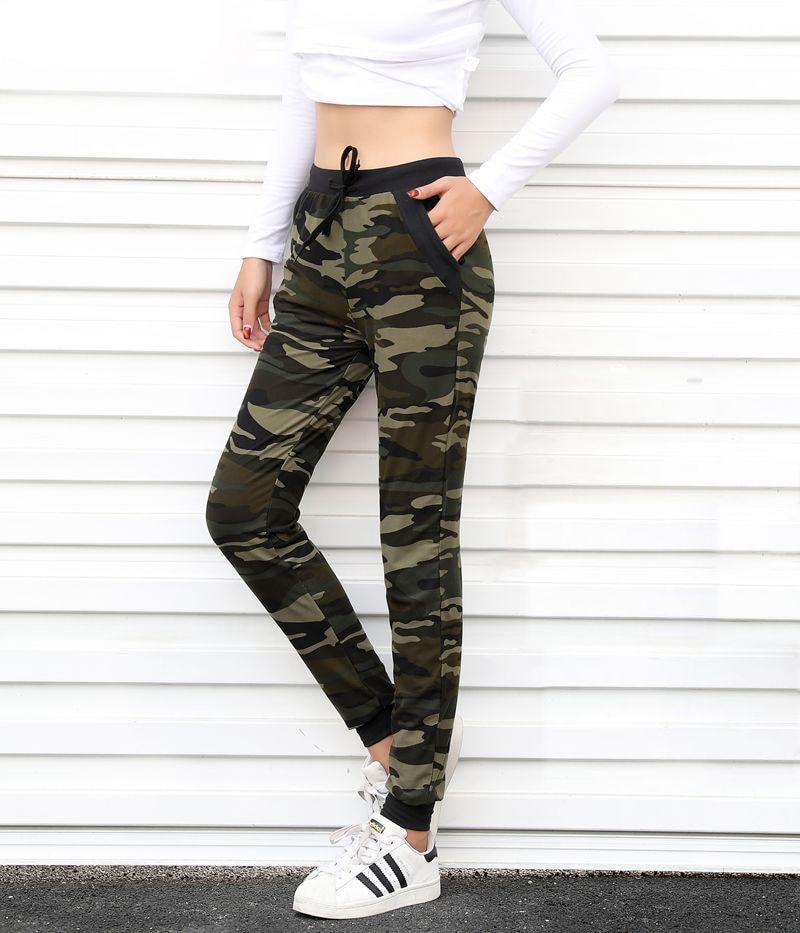 RYLANGUAGE Camouflage Joggers Women Sweatpants Harem Camo Pants Drawstring Pantalones Femme Mujer Female High Waist Pocket Tight