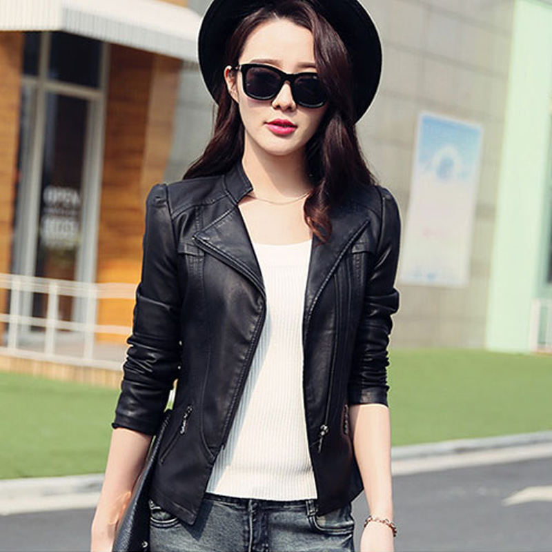 2019 spring and autumn new   leather   short paragraph Korean Slim large size motorcycle womens jacket tide